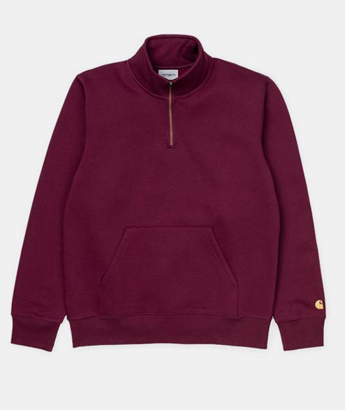 Carhartt WIP - Chase Neck Zip Sweat - Merlot Gold