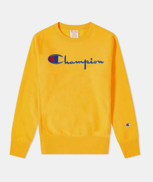 Champion - Script Logo Crewneck Sweatshirt - Bright Orange