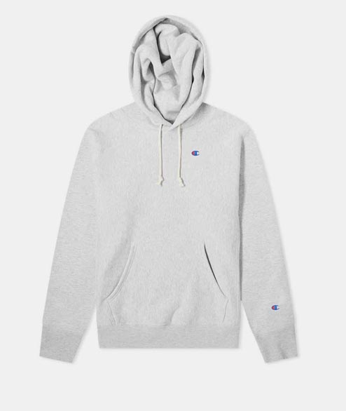 Champion - Logo Hooded Sweatshirt - Heather Grey