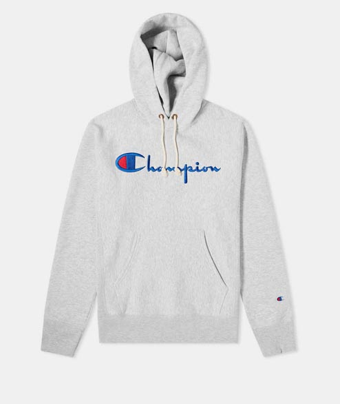 Champion - Script Logo Hooded Sweat - Heather Grey