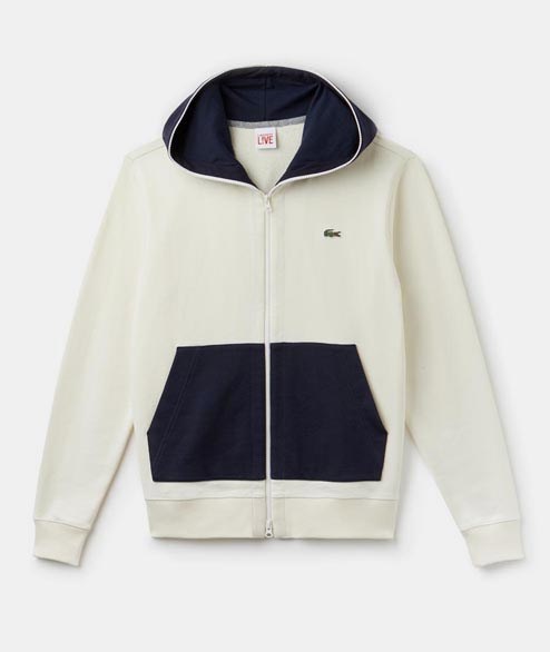 Lacoste Live - Hooded Zip Sweatshirt - Cream Marine