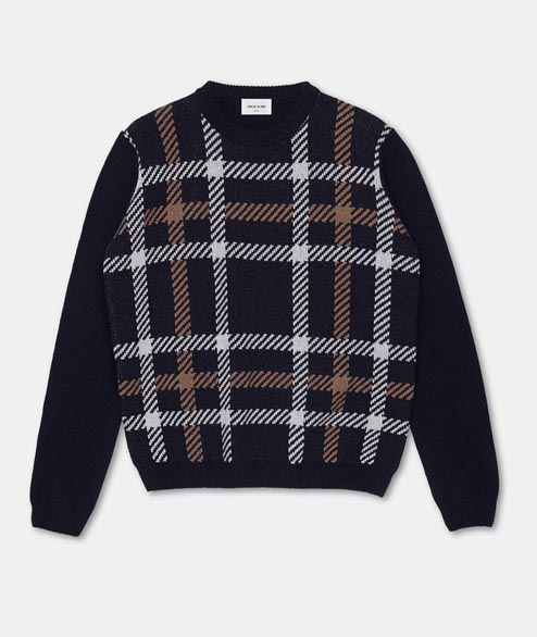 Wood Wood - Latimer Sweater - Navy Check