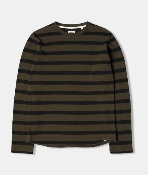 Edwin - Terry Striped Tee  - Olive Printed Stripes