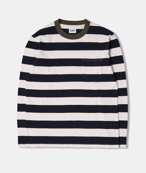 Edwin - Ringer Bar Striped Tee - Natural Navy