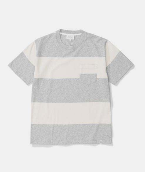 Norse Projects - Johanes Block Stripe - Ligh Grey Melange
