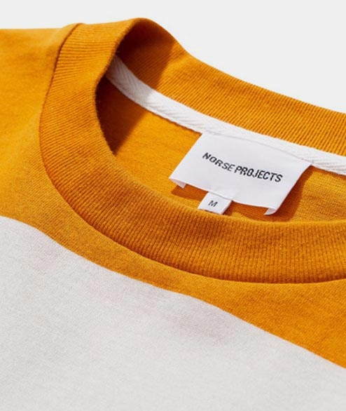 Norse Projects - Johannes Border Stripe - Cadmium Orange