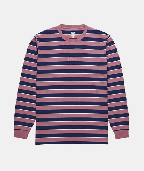 Polar Skate Co. - Striped Longsleeve - Dusty Rose Navy