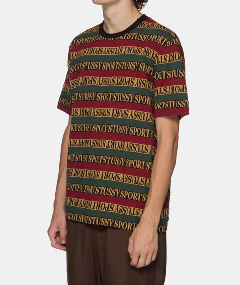 Stussy - Stripe Crew - Red Green Yellow