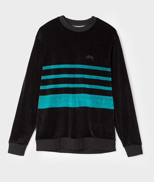 Stussy - Velour Stripe Crew - Navy