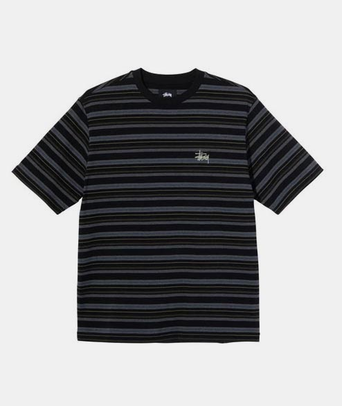 Stussy - Heather Stripe Crew - Black