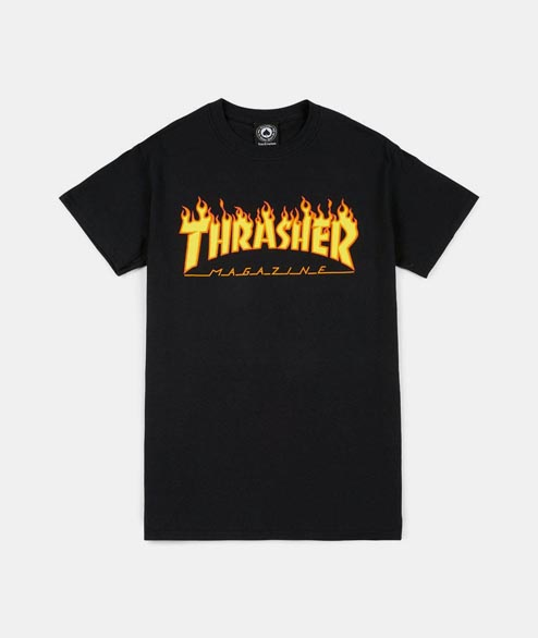 Thrasher - Flame Tee - Black