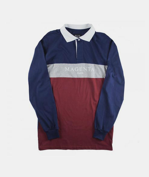 Magenta - Paris Polo - Navy Grey Burgundy