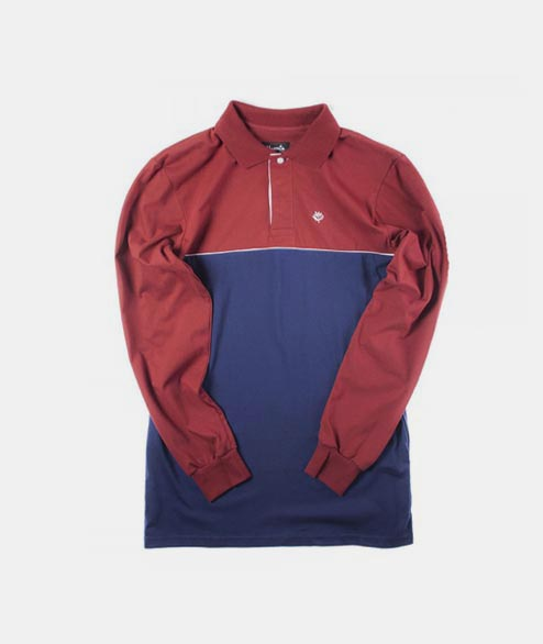 Magenta - Tricolor Polo - Navy Burgundy Grey