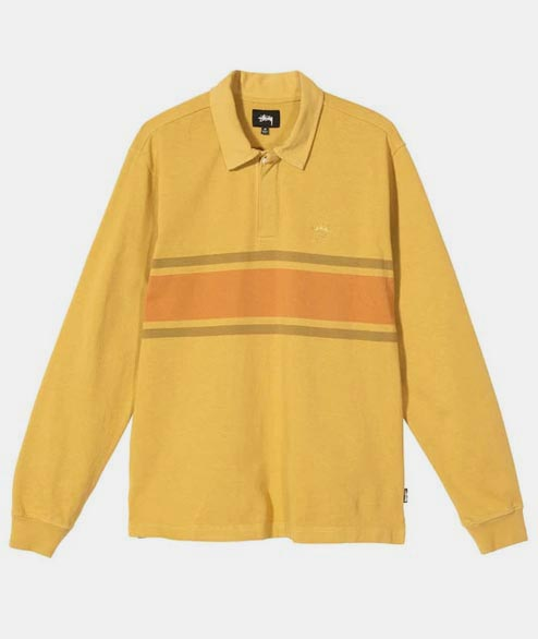 Stussy - O Dyed Stripe Long Sleeve Rugby - Mustard
