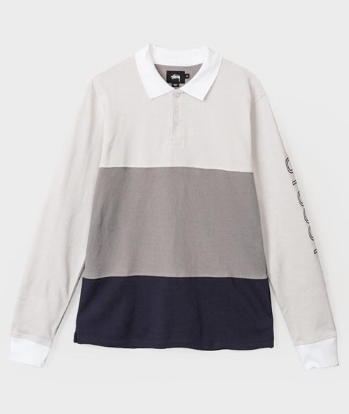 Stussy - Panel Pique L/S Polo - Grey