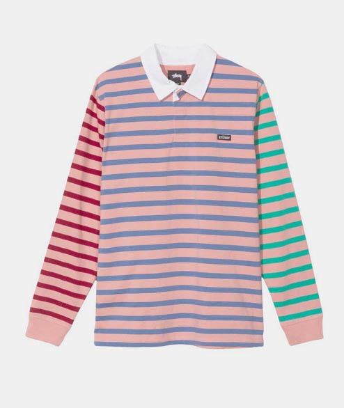 Stussy - Jonah Stripe Rugby - Pink