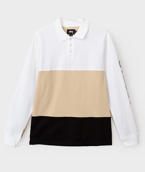 Stussy - Panel Pique L/S Polo - White