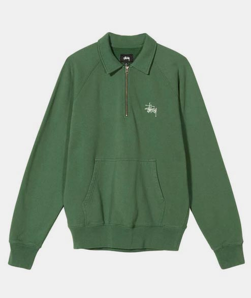 Stussy - Polo Zip Fleece - Green