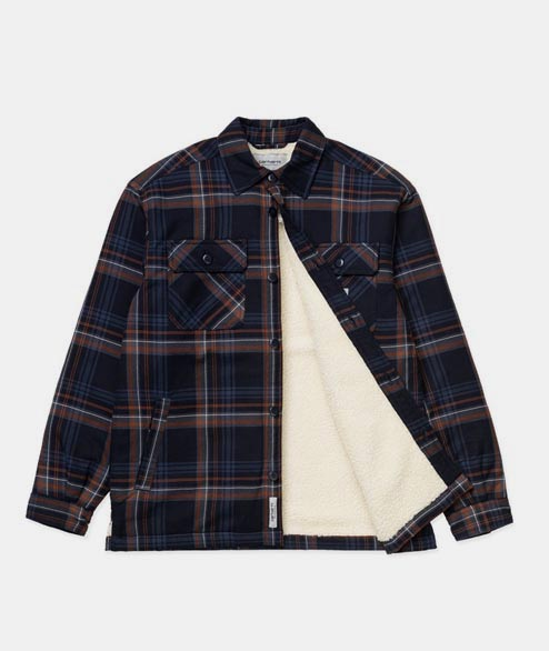 Carhartt WIP - Aiden Shirt Jacket - Navy Check Sherpa