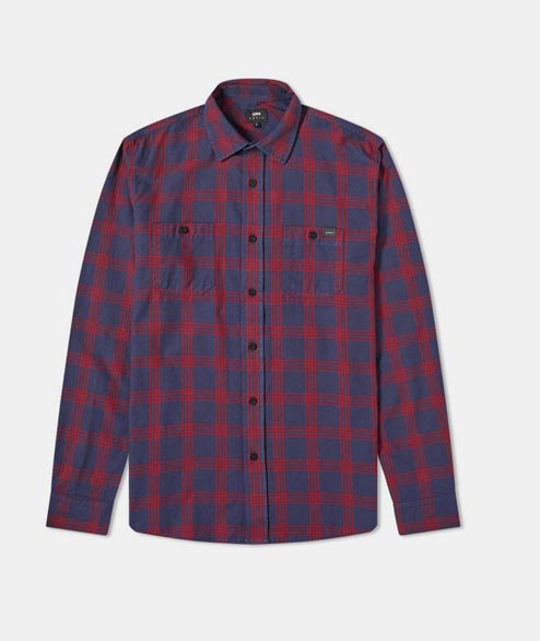 Edwin - Labour Shirt - Navy Aurora Red