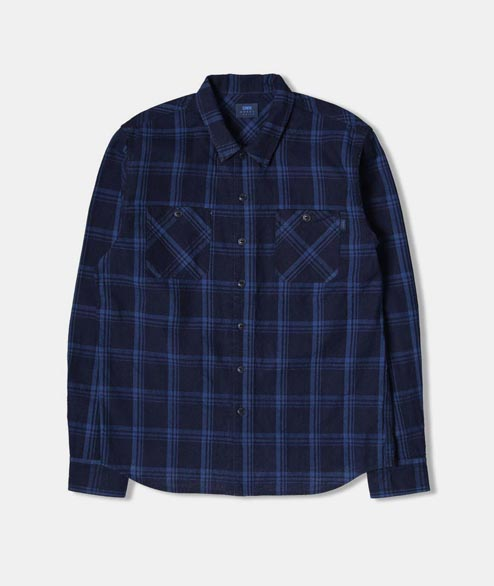 Edwin - Cell Shirt - Cotton Check Indigo