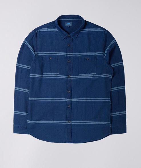 Edwin - Labour Shirt - Indigo Stripes