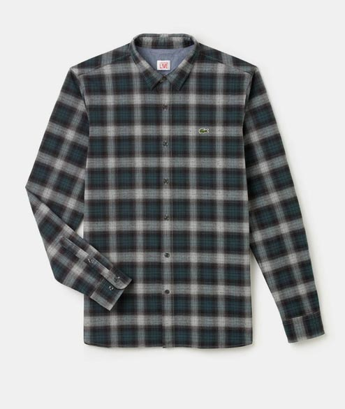 Lacoste Live - Plaid Shirt - Green Grey