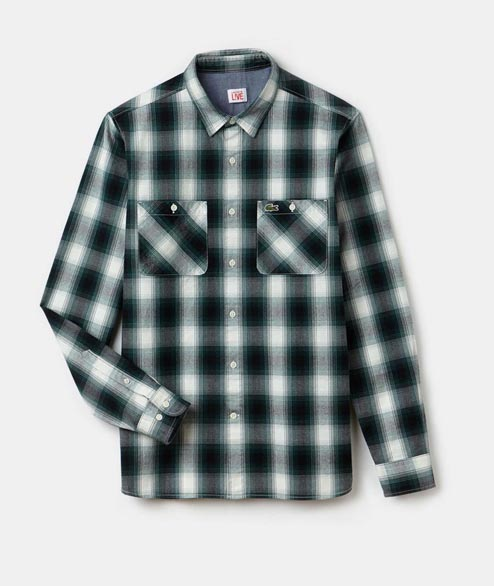 Lacoste Live - Slim Fit Checked Flanel Shirt - Box Black