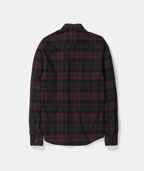 Norse Projects - Anton Flannel Check - Eggplant Brown