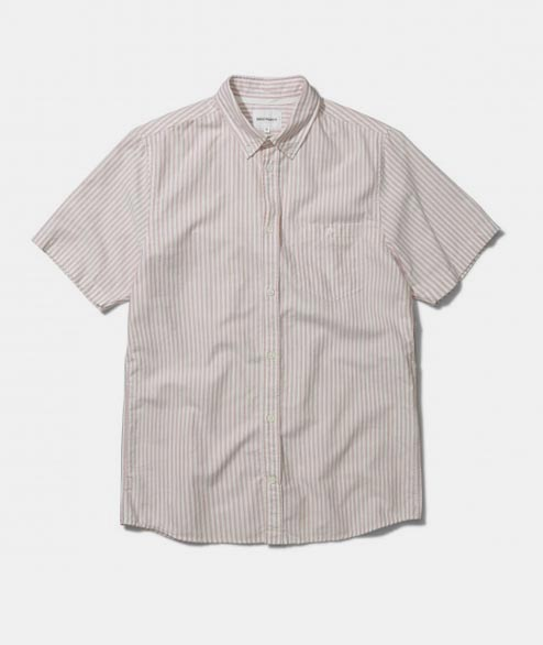 Norse Projects - Anton Oxford SS - Fusion Pink Stripe