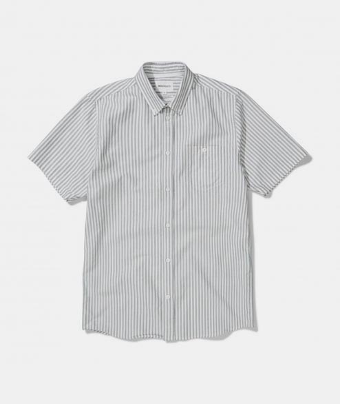 Norse Projects - Anton Oxford SS - Dried Olive Stripe