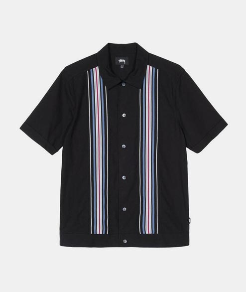 Stussy - Striped Knit Panel Shirt - Black