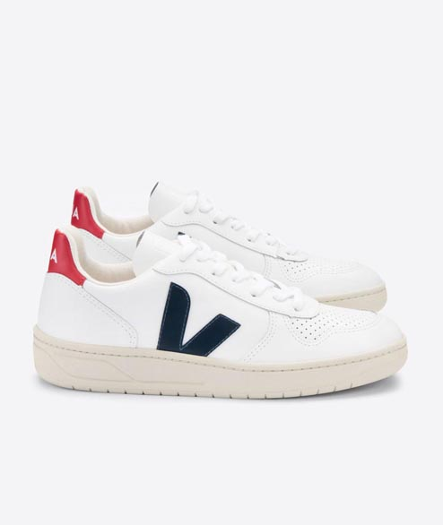 Veja - V10 Leather - White Nautico Pekin