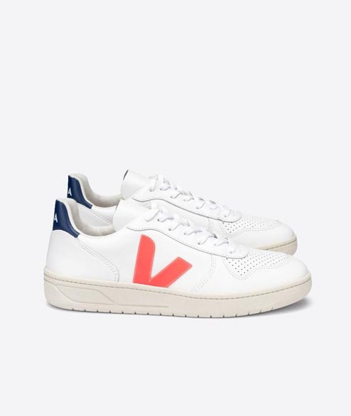 Veja - V10 Leather - White Orange Fluor