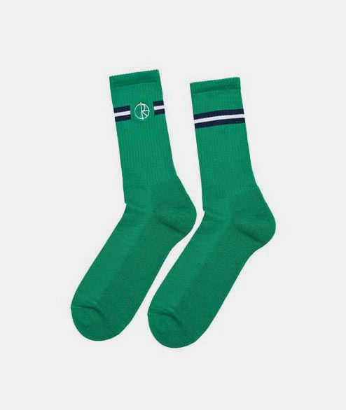 Polar Skate Co. - Stroke Logo Socks - Navy Green White