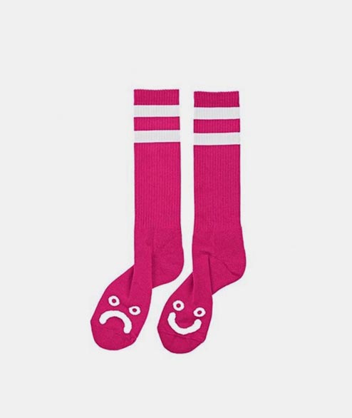 Polar Skate Co. - Happy Sad Sock - Hot Pink