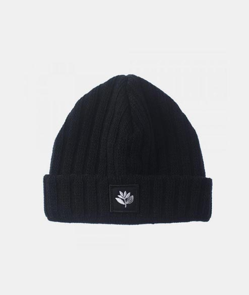 Magenta - Plant Patch Beanie - Black