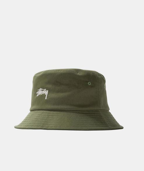 Stussy - Stock Logo Bucket Hat - Olive