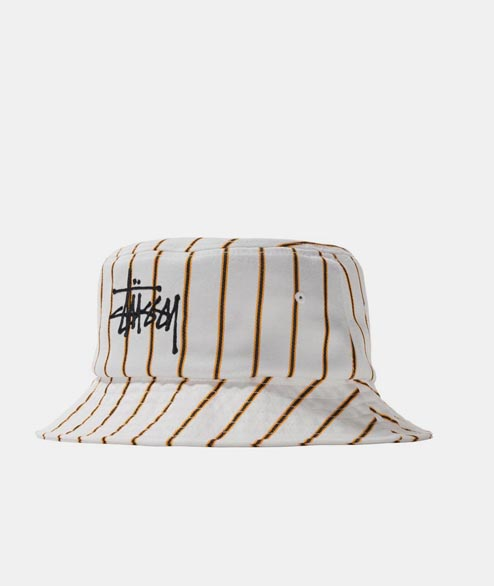 Stussy - Big Logo Striped Bucket Hat - Off White