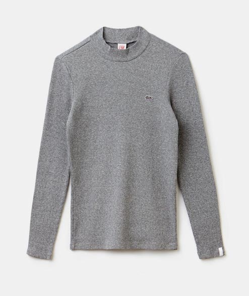 Lacoste Live - W Ribbed Mock Neck Top - Palladium