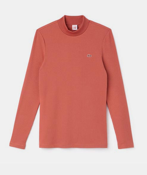 Lacoste Live - W Long Sleeve Ribbed Tee - Pink