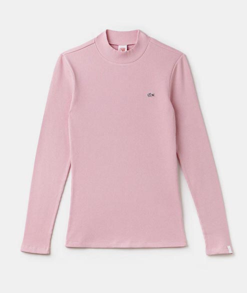 Lacoste Live - W Ribbed Mock Neck Top - Orchid