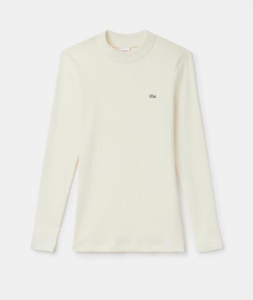 Lacoste Live - W Long Sleeve Ribbed Tee - Cream