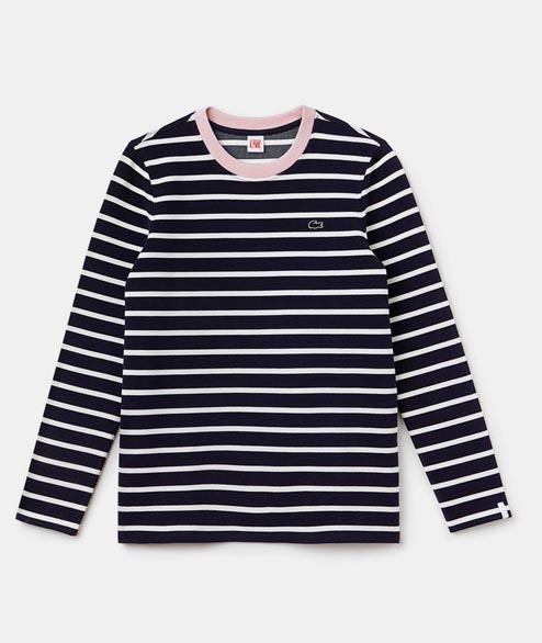 Lacoste Live - W Cotton Strip Tee - Marine Orchidee