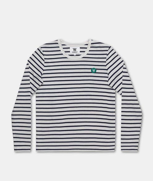 Wood Wood - W Moa LS - Off White Navy Stripes