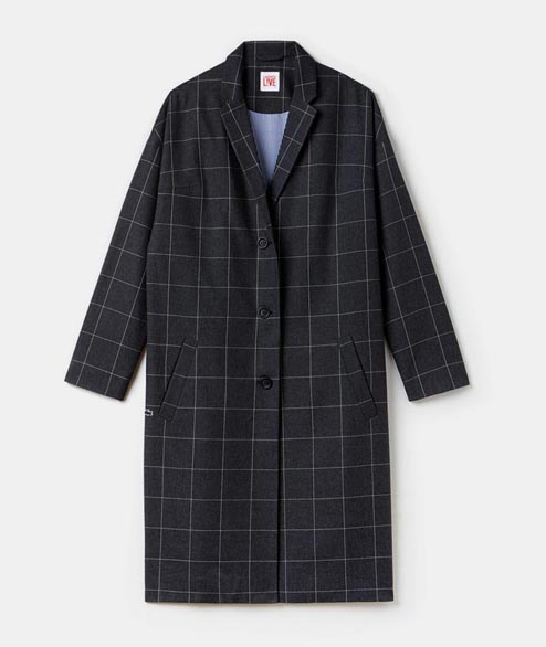 Lacoste Live - W Long Checked Flanel Coat - Eclipse