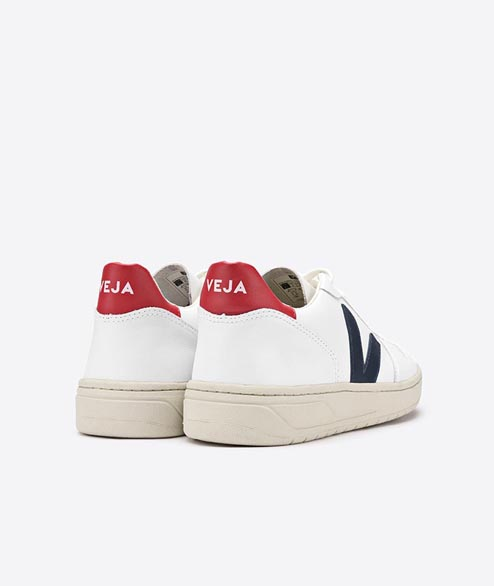 Veja - W V10 Leather - White Nautico Pekin