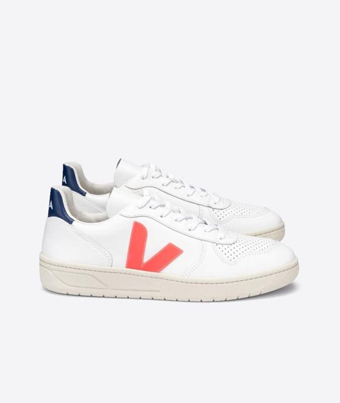 Veja - W V10 Leather - White Orange Fluor